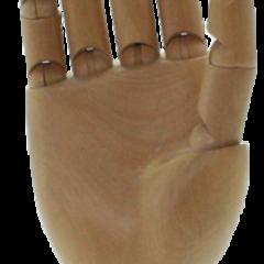 mani in legno con articolazioni